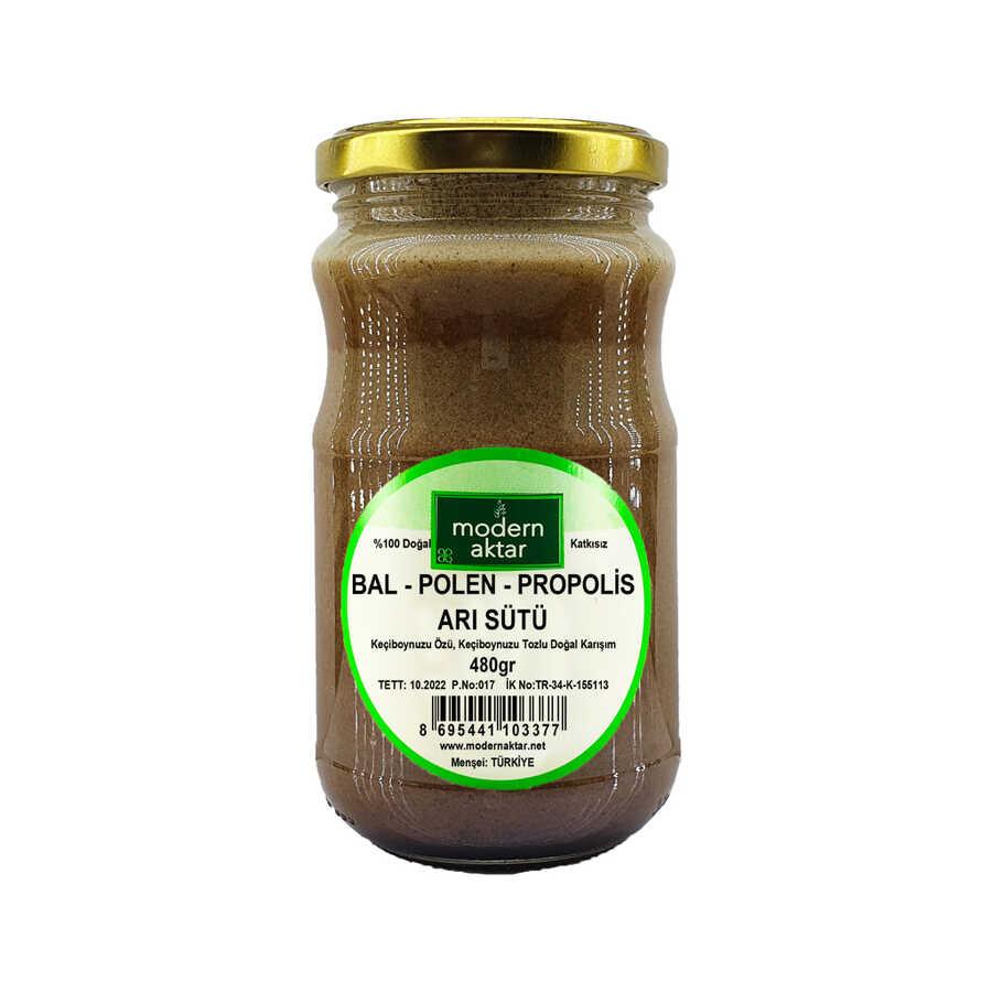 modern aktar Doğal Bal Polen Arı Sütü Propolis Karışımı 480 Gr